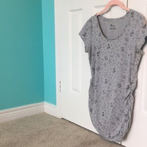 Thyme Maternity Short Sleeve Stretchy Gray Top